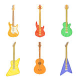 Cartoon set of different electric and acoustic guitars  on white background. Vector illustration. Cartoon set of different electric and acoustic guitars  on Stock Image