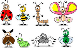 Cartoon set of different insects vector Stock Photo