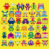 Cartoon Set Of Different Monsters Isolated Stock Photography
