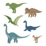 Cartoon set: diplodocus plesiosaur pterosaur triceratops tyrannosaurus velociraptor Royalty Free Stock Photos