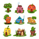 Cartoon set of fairy-tale houses in various shapes. Home in form of broccoli, cake, pumpkin, carrot, teapot, shoe. Pepper, old stump and cactus in pot stock illustration