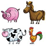 Cartoon set of farm animals Stock Images