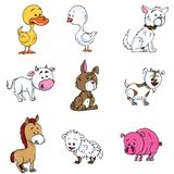 Cartoon set of farm animals Royalty Free Stock Photos