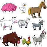 Cartoon set of farm animals royalty free stock photography