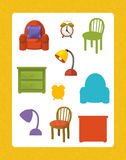 Cartoon set of furniture - searching game with shadows Stock Photography