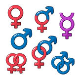 Cartoon set of gender symbols Royalty Free Stock Image