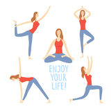 Cartoon set of girls doing yoga exercises. Cartoon girls set doing yoga exercises. Including different poses and enjoy your life title. Healthy lifestyle Stock Photography