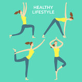 Cartoon set of girls doing yoga exercises. Cartoon girls set doing yoga exercises. Including different poses. Healthy lifestyle illustration for your design Royalty Free Stock Photography