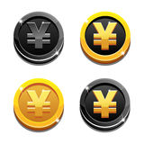 Cartoon set golden and black yen coin yuan symbol, chinese money Royalty Free Stock Photo