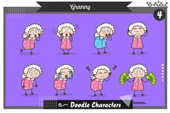 Cartoon Set of Granny Poses and Expressions Vector Illustration royalty free illustration