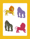 Cartoon set of happy and funny wild african animals - searching game with shadows Royalty Free Stock Photos