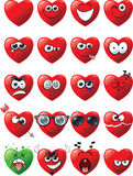 Cartoon set of heart emoticons Royalty Free Stock Images