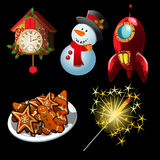 Cartoon set of holiday symbols and entertainment Stock Photography