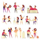 Morning Cartoon Set. Cartoon set of icons with young couple and various morning routine isolated on white background vector illustration royalty free illustration