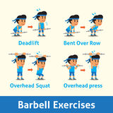 Cartoon set of a man doing barbell exercise step for health Stock Images
