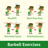 Cartoon set of man doing barbell exercise step for health Stock Image