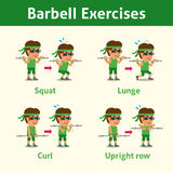 Cartoon set of man doing barbell exercise step for health and fitness Stock Photography