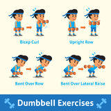 Cartoon set of a man doing dumbbell exercise step for health and fitness Stock Photography