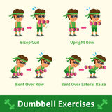 Cartoon set of man doing dumbbell exercise step for health and fitness Royalty Free Stock Image