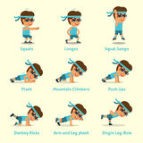 Cartoon set of a man doing exercises for health and fitness Royalty Free Stock Image