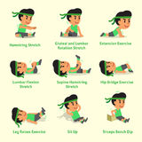 Cartoon set of a man doing warm-up and exercises. For design Royalty Free Stock Photos