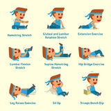 Cartoon set of man doing warm-up and exercises. For design Stock Photography