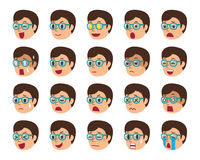 Cartoon set of man faces showing different emotions. For design Stock Images