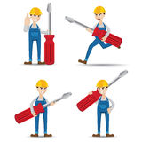 Cartoon set of mechanic with screwdriver Stock Images