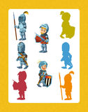 Cartoon set of medieval knights - searching game with shadows Royalty Free Stock Images