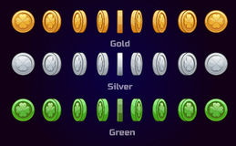 Cartoon set of metal and green coins