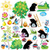 Cartoon set with mole in garden stock illustration