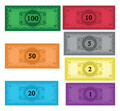 Cartoon set of money Stock Photos