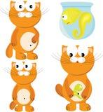 Cartoon Set Of Cat & Fish Stock Photos