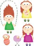 Cartoon Set Of Different Girls Stock Photography