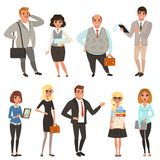 Cartoon set of office managers and workers in different situations. Business people. Men and women characters in casual. Clothes. Colorful vector illustration Royalty Free Stock Photo