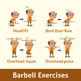 Cartoon set of old man doing barbell exercise step for health Stock Photography