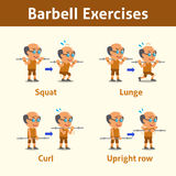 Cartoon set of old man doing barbell exercise step for health and fitness Royalty Free Stock Photography
