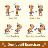 Cartoon set of old man doing dumbbell exercise step for health and fitness Royalty Free Stock Images