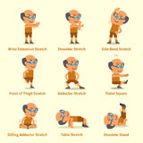Cartoon set of an old man doing exercises for health and fitness Royalty Free Stock Image