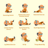 Cartoon set of old man doing warm-up and exercises. For design Stock Photo