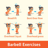 Cartoon set of old woman doing barbell exercise step for health Stock Image