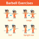 Cartoon set of old woman doing barbell exercise step for health and fitness Royalty Free Stock Photo