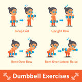 Cartoon set of old woman doing dumbbell exercise step for health and fitness Stock Image
