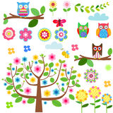 Cartoon set - owls, flowers Stock Image