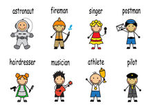 Cartoon set people of different professions royalty free illustration