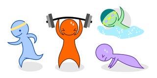 Cartoon set of people exercising Stock Image