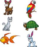 Cartoon set of pet animals stock illustration
