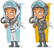 Cartoon set of pilots with cool helmets Royalty Free Stock Images