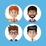 Cartoon set portrait men business work Stock Images