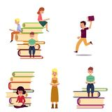 Cartoon set of reading people and giant books. People reading while sitting on giant books, flat cartoon vector illustration isolated on white background. Set of Royalty Free Stock Photo